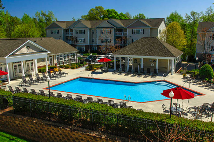 Auston Grove Apartments in Raleigh North Carolina clubhouse and pool